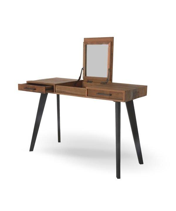 Scrittoio in teak antico con cassetti e specchio, gambe in legno