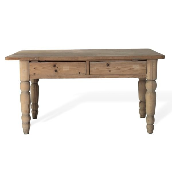 Tavolo antico con cassetti e gambe tornite
