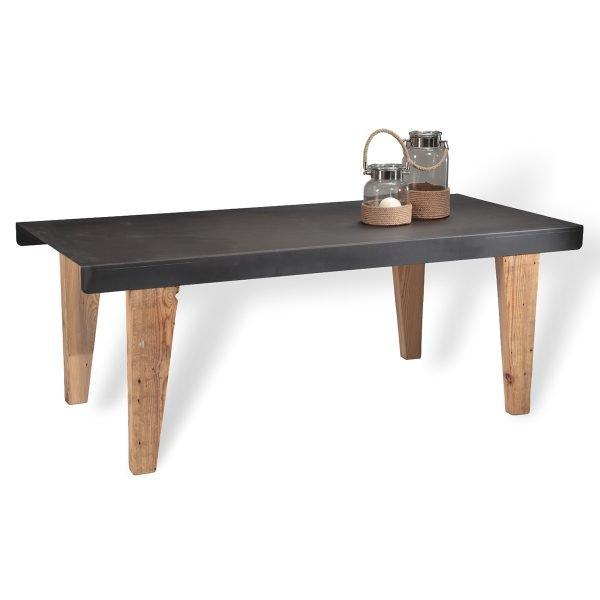 Tavolo con piano in lamiera piegata e gambe in legno Francomario
