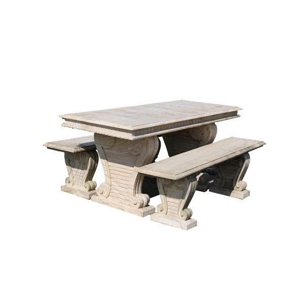 Tavolo in marmo con panche Francomario