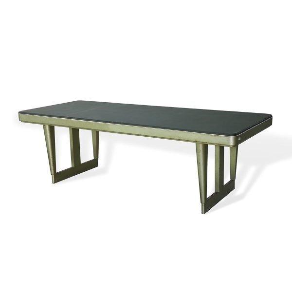 Tavolo vintage anni '50 in metallo con piano in ecopelle